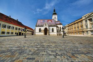Cobbles and St Mark's Church and Square, Zagreb, Croatia
