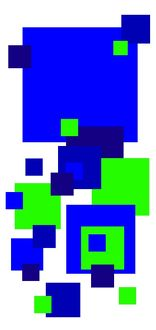 Coloured square design, primary colours, green and blue squares modern art pattern