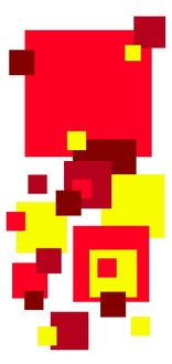Coloured square design, primary colours, red yellow, green, blue squares modern art
