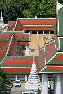 Colourful tiles on the roofs of Wat Ratchanatdaram Temple, Bangkok, Thailand