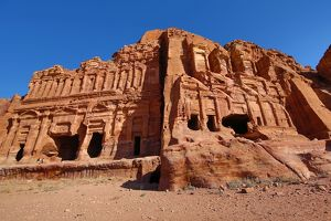 The Corinthian Tomb and the Palace Tomb of the Royal Tombs in the rock city of Petra