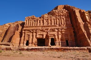 The Corinthian Tomb of the Royal Tombs in the rock city of Petra, Jordan