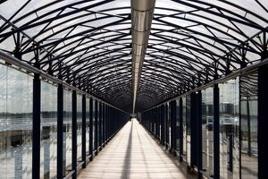 Covered glass walkway