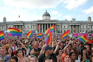 Crowds at Trafalgar Square at London Pride Parade 2009