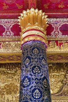 Decorated pillars in Wat Mai Suwannaphumaham (aka Vat May) Temple, Luang Prabang, Laos
