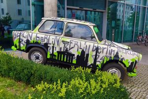 Decorated Trabant motor car in Berlin, Germany