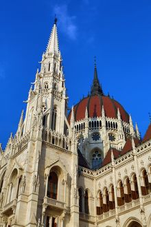 Dome and spires of the Hungarian Parliament Building, the Orszaghaz, in Budapest, Hungary