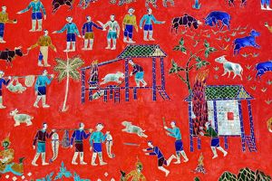 Everyday life recorded in mosaics at Vat Xieng Thong Temple, Luang Prabang, Laos