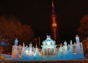 Fantastic ice sculptures at the 65th Sapporo Snow Festival 2014 in Sapporo, Japan