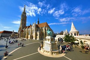The Fisherman's Bastion and the Matthias Church in Budapest, Hungary