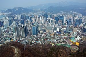 General city skyline view of the buildings of Myeongdong in Seoul, Korea