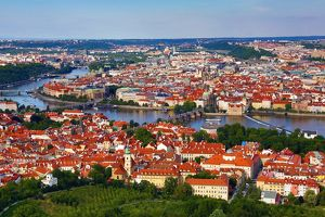 General city skyline view of Prague and the Vtlava River, Czech Republic