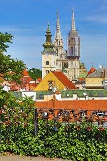 General city skyline view of Zagreb Cathedral with tower renovation and the tower of St