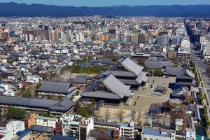 General city view of Kyoto with Higashi Honganji Temple, the Eastern Temple of the