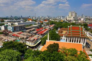 General view of Bangkok skyline from the Golden Mount, Wat Saket Temple, Bangkok, Thailand