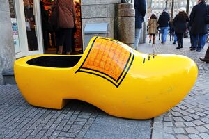 Giant wooden souvenir clog outside a souvenirs shop for clogs in Amsterdam, Holland