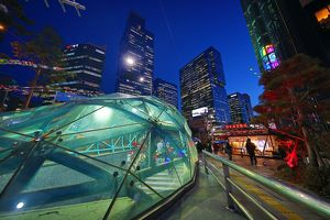 Glass roof of Gangnam metro station and buildings, Seoul, Korea
