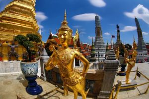 Gold Kinnara Statue at Wat Phra Kaew Temple complex of the Temple of the Emerald Buddha in Bangkok