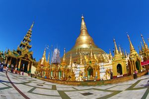 Gold stupa and spires at the Shwedagon Pagoda, Yangon, Myanmar