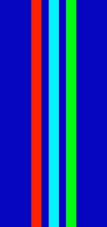 Graphic colour design, blue background and coloured lines and stripes