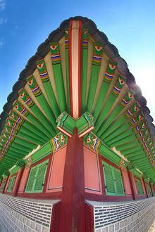 Green wooden roof at Gyeongbokgung Palace in Seoul, Korea