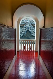 Hallway, arch and archway in Wat Ratchanatdaram Temple, Bangkok, Thailand