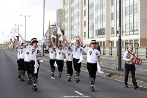 Hammersmith Morris dancing over Hammersmith Flyover, London