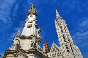 Holy Trinity Column and the Matthias Church in Budapest, Hungary