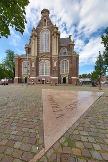 Homomonument gay monument and the Westerkerk church in Amsterdam, Holland
