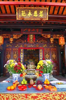 Incense burning on the altar at the Cheng Hoon Teng Chinese Temple in Malacca, Malaysia