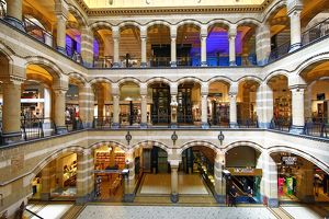 Interior of the Magna Plaza shopping centre and mall in Amsterdam, Holland