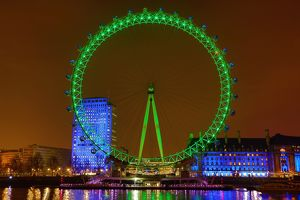 London Eye (Millennium Wheel) illuminated green for St Patrick's Day in London