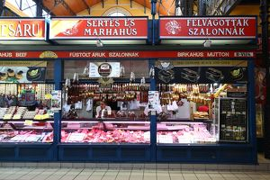 Meat stall in the Central Market Hall in Budapest, Hungary