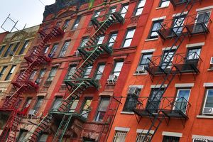 Metal fire escapes in Chinatown, New York City, New York, USA