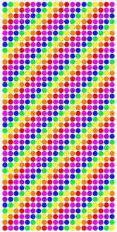 Multi-coloured spots, circles and dots in lines of colourful rainbow colours