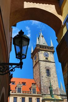 Old Town Hall clock tower in Old Town Square in Prague, Czech Republic