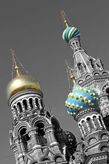 Onion domes of the Church of Our Saviour on Spilled Blood in St Petersburg, Russia