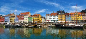 Panaoramic view of boats at Nyhavn Quay in Copenhagen, Denmark