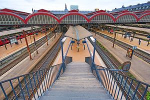 Platforms of Copenhagen Central railway station in Copenhagen, Denmark