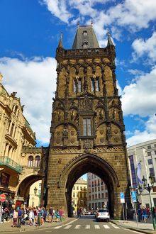 The Powder Tower Gothic Gate in Prague, Czech Republic