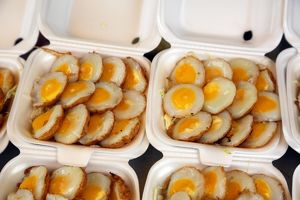 Quail eggs at a food stall at Chatuchak Weekend Market, the largest market in Thailand