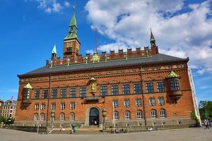 The Radhus or Town Hall in Radhuspadsen the Town Hall Square in Copenhagen, Denmark