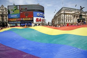 Rainbow Flag at Piccadilly Circus at London Pride Parade 2009
