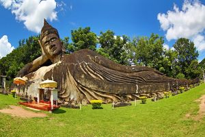 Reclining Buddha statue at the Buddha Park, Vientiane, Laos