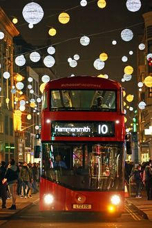 Red Double Decker Bus and Oxford Street Christmas lights, London