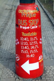 Red Prague Castle city sightseeing bus stop