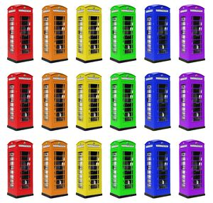 Red and Rainbow coloured London Telephone Boxes