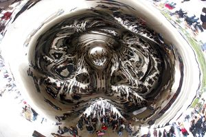 Reflections in the Cloud Gate Sculpture, Chicago, Illinois, America