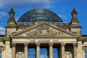 The Reichstag Building and dome in Berlin, Germany