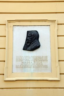 Relief profile portrait of Nikola Tesla in Zagreb, Croatia